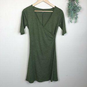Prana | Nadia Wool Blend Wrap Dress V-Neck Green
